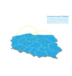 Modern of poland map connections network design vector