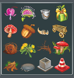 natural icons symbol collection vector image
