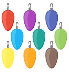 nine multi colored christmas balls vector image