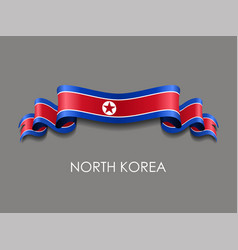 north korean flag wavy ribbon background vector image