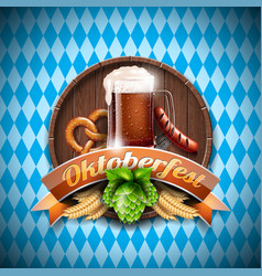 Oktoberfest with fresh dark beer on blue white vector