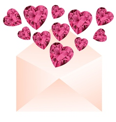 Opened envelope with pink gemstone hearts vector image