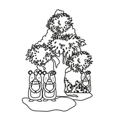 Outline bears wild animals with bushes and tree vector