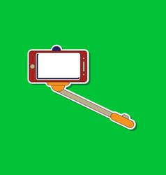 Paper sticker on background of smartphone selfie vector