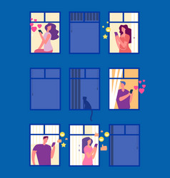 people in social networks in evening windows vector image