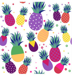 pineapple fruit summer color seamless pattern vector image