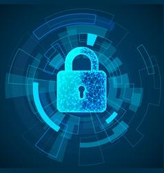 polygonal lock design digital data protect or vector image