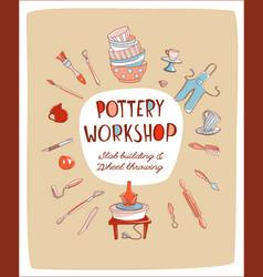 pottery workshop studio invitation vector image