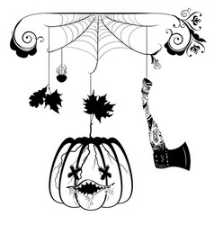 Pumpkin and hatchet vector