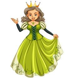 Queen in green dress vector image