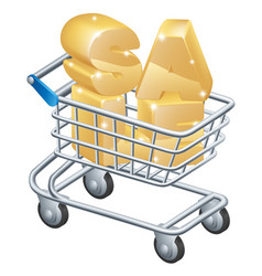 Sale shopping trolley vector