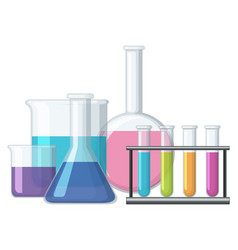 Sciene beakers filled with chemical vector