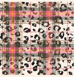 Scottish tartan with leopard skin spots vector