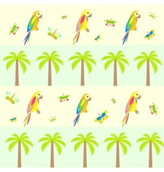 seamless background with palm tree and parrots vector image