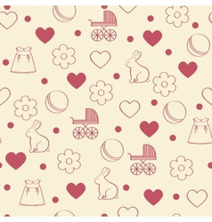 Seamless girly background vector image
