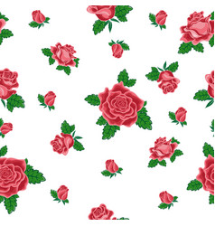 Seamless pattern from red roses vector