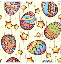 seamless pattern of cartoon color eggs vector image