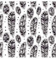 Seamless pattern of hand drawn boho feather vector