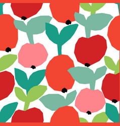 Seamless pattern with ripe red apples vector