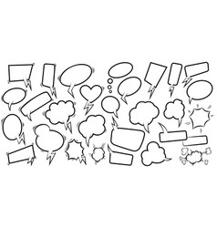 set empty comic speech bubbles design element vector image
