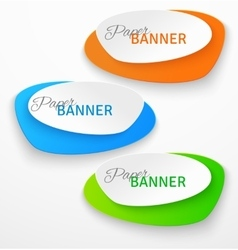 Set oval colorful paper origami banners vector