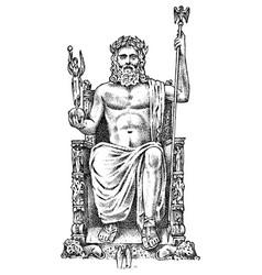 Seven wonders ancient world statue zeus vector