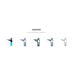 Shooter icon in different style two colored and vector