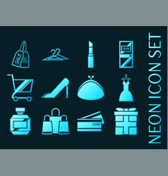 Shopping set icons blue glowing neon style vector