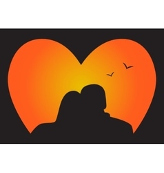Silhouette couple in Love who look at the sunset vector