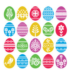 Silhouettes of color easter eggs isolated on vector