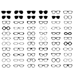 silhouettes of different eyeglasses vector image