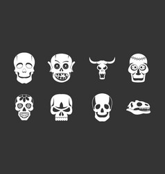 Skull icon set grey vector
