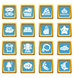 sleeping icons set sapphirine square vector image