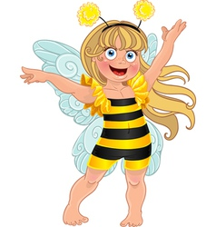 Small girl in carnival suit bee vector image
