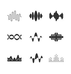 Sound and audio waves glyph icons set silhouette vector