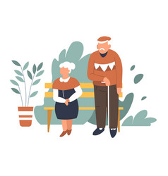 spring park elderly couple on bench man and woman vector image