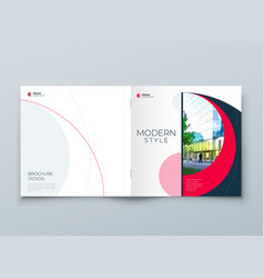 square cover with minimal red geometric design vector image