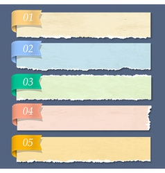Torn paper numbered banners vector image