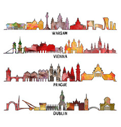 triangular design warsaw vienna prague dublin vector image