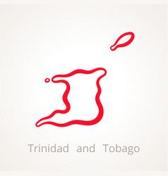 trinidad and tobago - outline map vector image