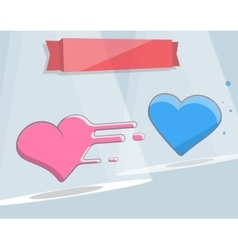 Two hearts cartoon style for vector image