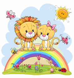 Two lions are sitting on the rainbow vector