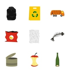 Types of waste icons set flat style vector
