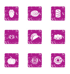 Useful nutrient icons set grunge style vector