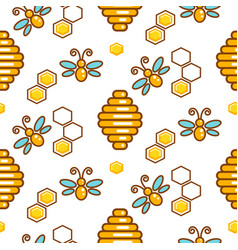 Vespiary and bees seamless outline pattern vector