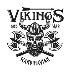 vikings emblem or t-shirt print with bearded skull vector image