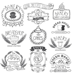 Vintage Bakery LabelsOutline hand sketched vector