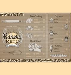 Vintage bakery menu design on cardboard texture vector