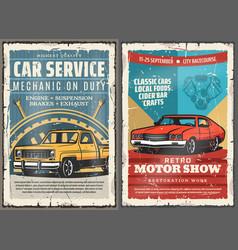 Vintage cars wheel vehicle engine auto service vector