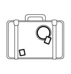 vintage travel suitcase black and white vector image